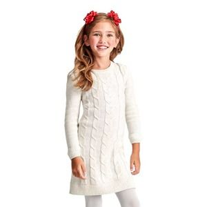 GYMBOREE Girls Cable Knit Silver Sparkle Dress 7